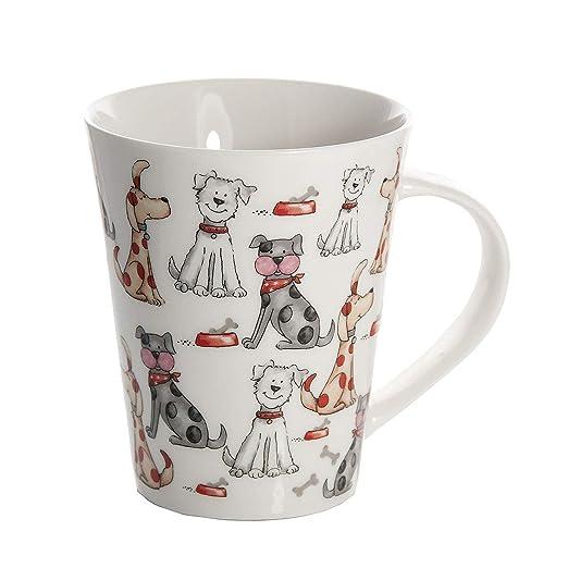 SPOTTED DOG GIFT COMPANY Taza de Desayuno Originales de café té con decoración de Lindo Perros, Blanco para microondas, Regalo para los Amantes de los ...