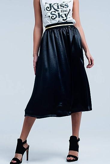 Q2 Falda Midi Satinada Negra con Cintura Elã¡Stica, L Mujeres ...