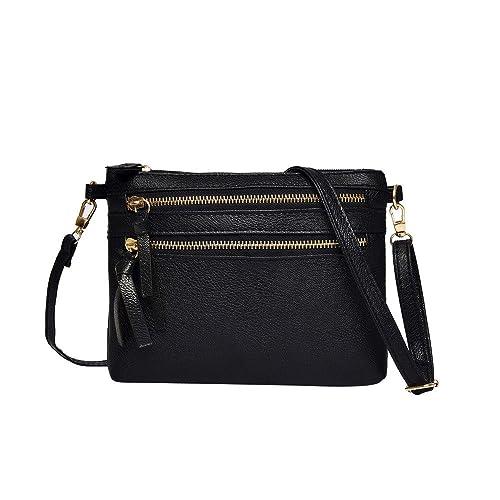eef2f4a6b690 Amazon.com  ZOMUSAR Women Girl Fashion Solid PU Leather Flap Bag Pretty  Litchi Pattern Zipper Closure Crossbody Shoulder Bag  Shoes