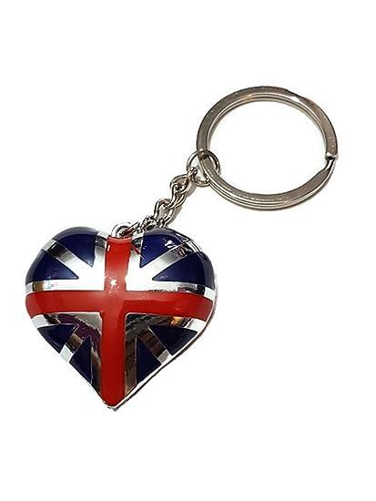 I Love London Inglaterra UK GB regalo Unión Jack bandera de corazón llavero de recuerdo