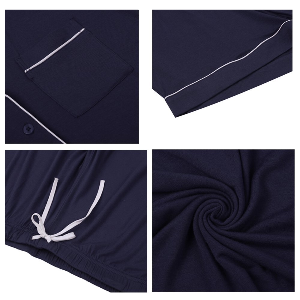 Womens Pajamas Short Sets AMP005 Navyblue M by Seaside (Image #6)
