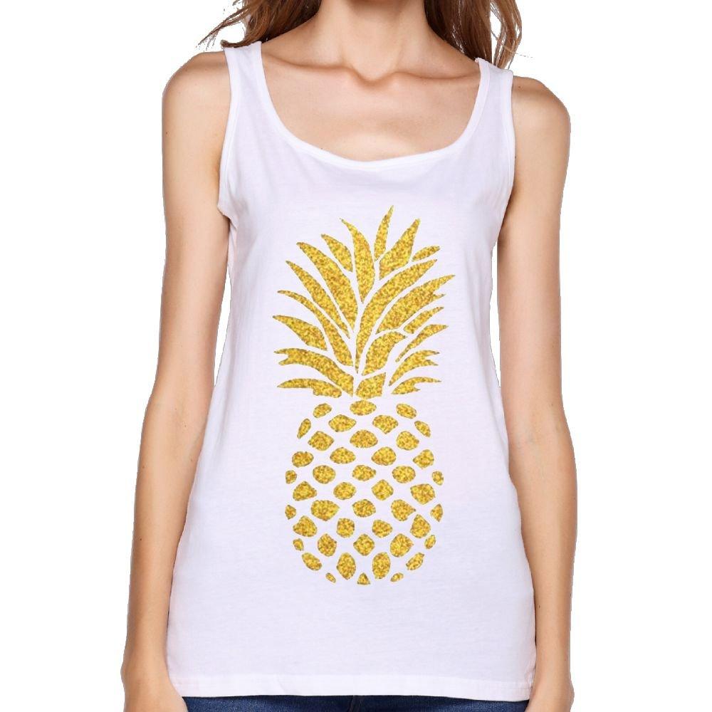 20e2fd074 Amazon.com: Quliuwuda Womens Gold Pineapple Tee Fitness Jogging White Vest  Tank Tops: Clothing