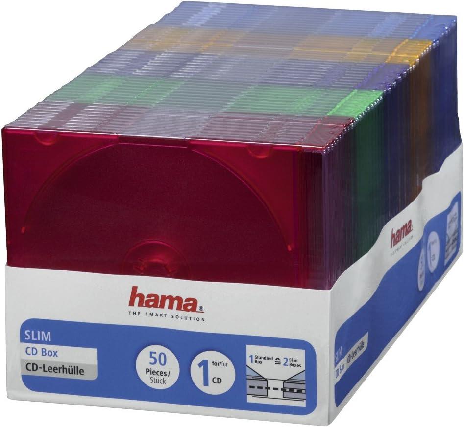 Hama 11494 - Funda para CD (50 Unidades), Azul, Verde, Naranja, Rosa, Violeta, Transparente