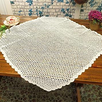 tidetex algodón hecho a mano Hollow Out Funda para mesa mantel cuadrado Simple Retro de encaje