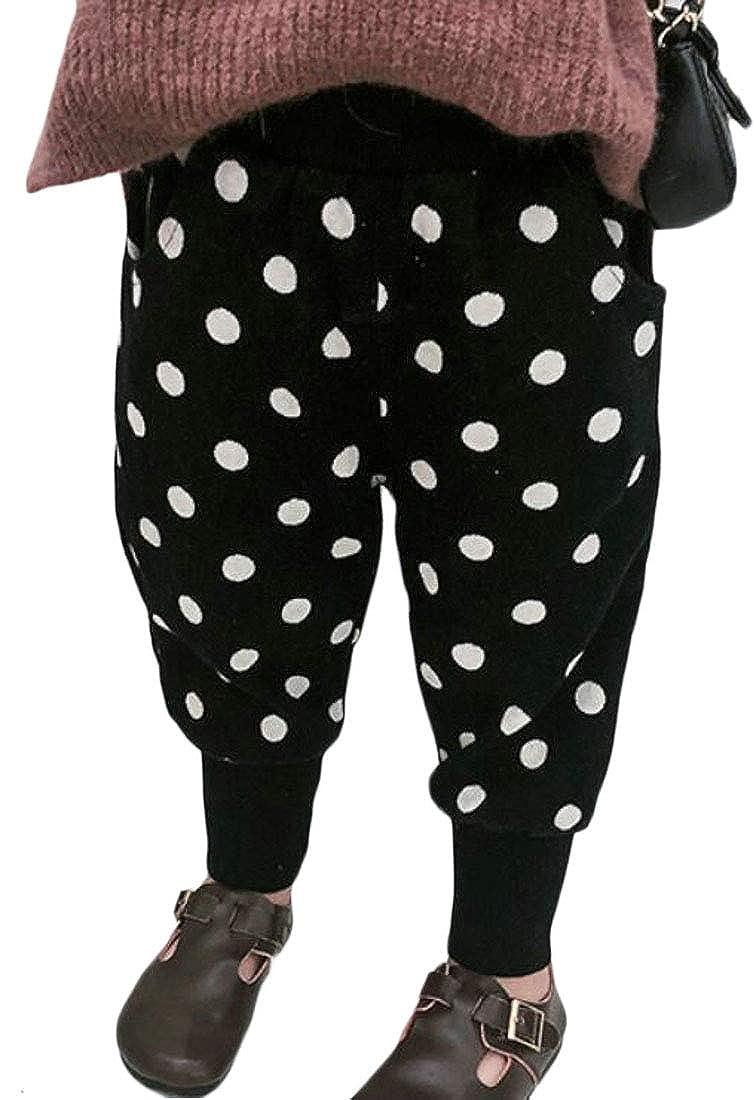 Sweatwater Girl Casual Winter Sherpa Lined Elastic Waist Polka Dot Jogging Pants
