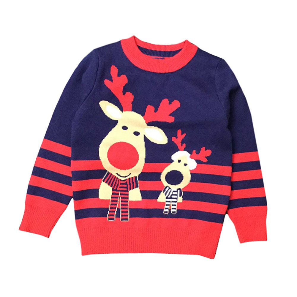 Anbaby Little Boys Childrens Double-Deck Christmas Elk Pullover Sweaters