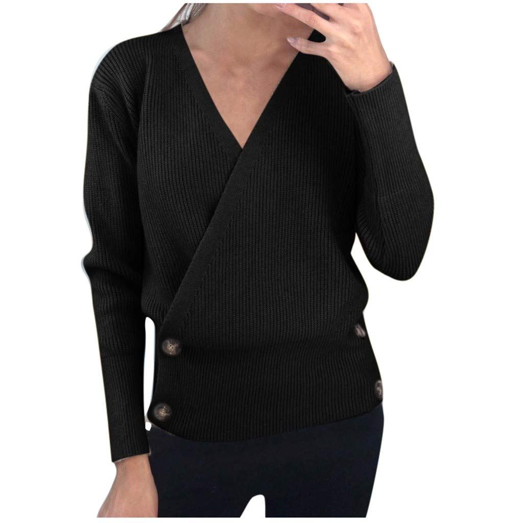 MEANIT Women's Pullovers Blouse V-Neck Sweater Long Sleeve Pullover Sweaters Criss Cross Knitted Sweater Black by MEANIT