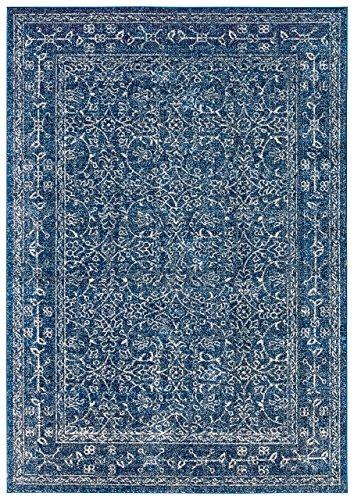 - Stone & Beam Modern Rich Detailed Rug, 4' x 6', Dark Blue