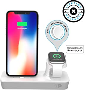 ONE Dock Duo (MFi Certified) Power Station Dock, Stand & Charger with Built-in Original Charger for Apple Watch Smart Watch (Series 5, 4, 3, 2, 1, Nike+) for iPhone 11 Pro/Max/XS/XR/8/7/Plus & iPod