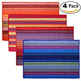 Tea Talent Everyday Kitchen Basic Cotton Placemats Woven Braided Ribbed Washable Dining Table Mats for Dinner Parties Picnics, 18'' x 12'', Set of 4 - Multi Colored