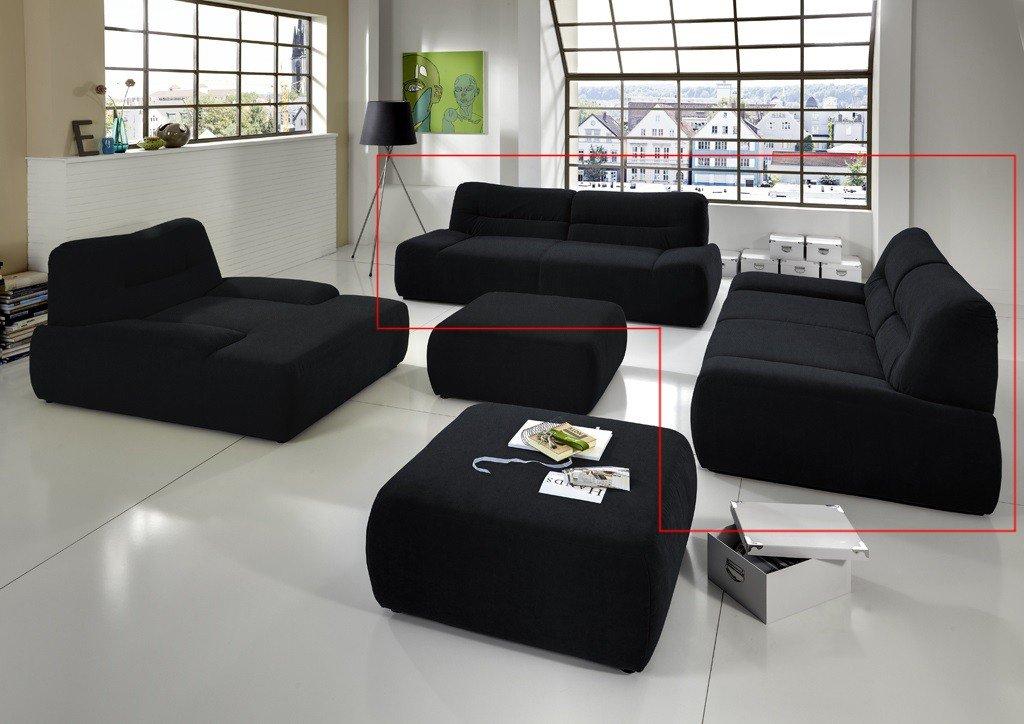 Dreams4Home Polstergarnitur Egira Set 3-Sitzer 2-Sitzer Sofa Couch schwarz, grau, blau, rot, grün o braun, Farbe:Grün