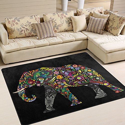 ALAZA Black Floral Elephant Area Rug Rugs for Living Room Be