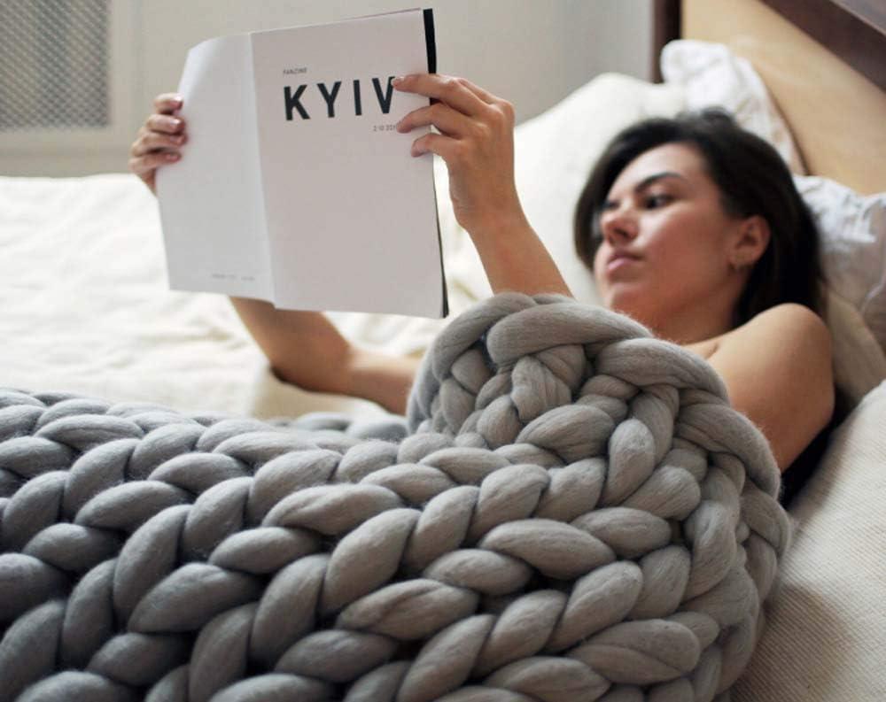 Chaise Sofa Tapis De Yoga Tapis 6 Cm en Laine M/élang/ée Gros Laine Couverture Tiss/és /À La Main//Cadeaux,Bleu,50x50cm no brand Chunky Couverture Tiss/é