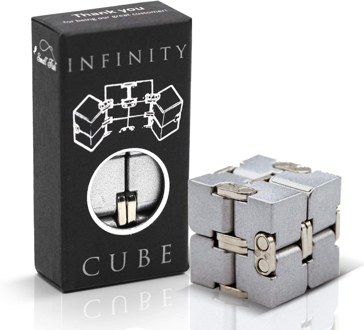 SMALL FISH Fidget Toys: Fidget Cube Infinity Toy Gadget for Kids, Teens, and Adults, Sensory Toy for Anti-Anxiety and Stress Relief, Ideal School Gift & Cool Office Decor for Men in Metal Aluminum