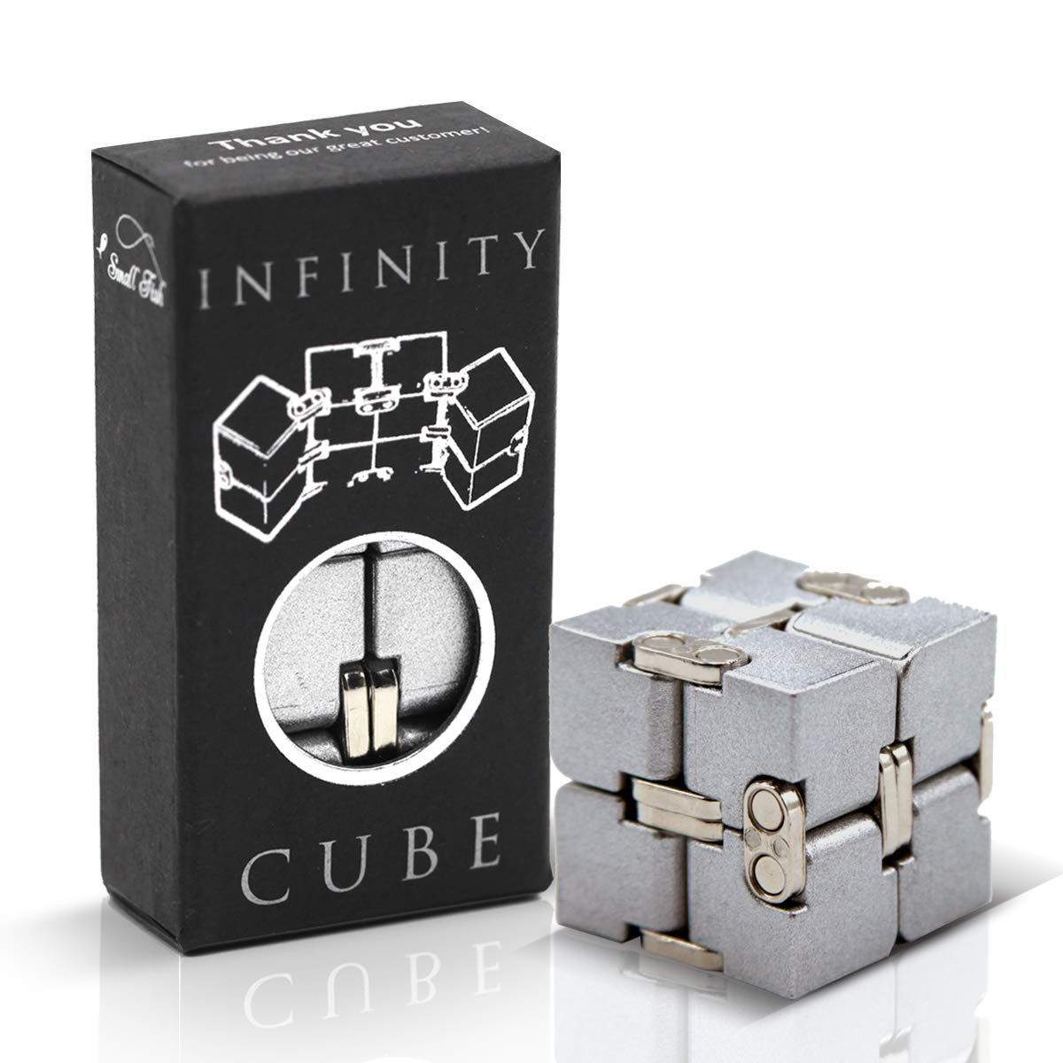 Fidget Cube Infinity Toy Gadget in Metal Aluminum for Kids, Teens, and Adults, Best Anxiety and Stress Relief Sensory Fidgeting Game, Ideal and Cool Gift Puzzle for Boys and Girls by SMALL FISH by SMALL FISH
