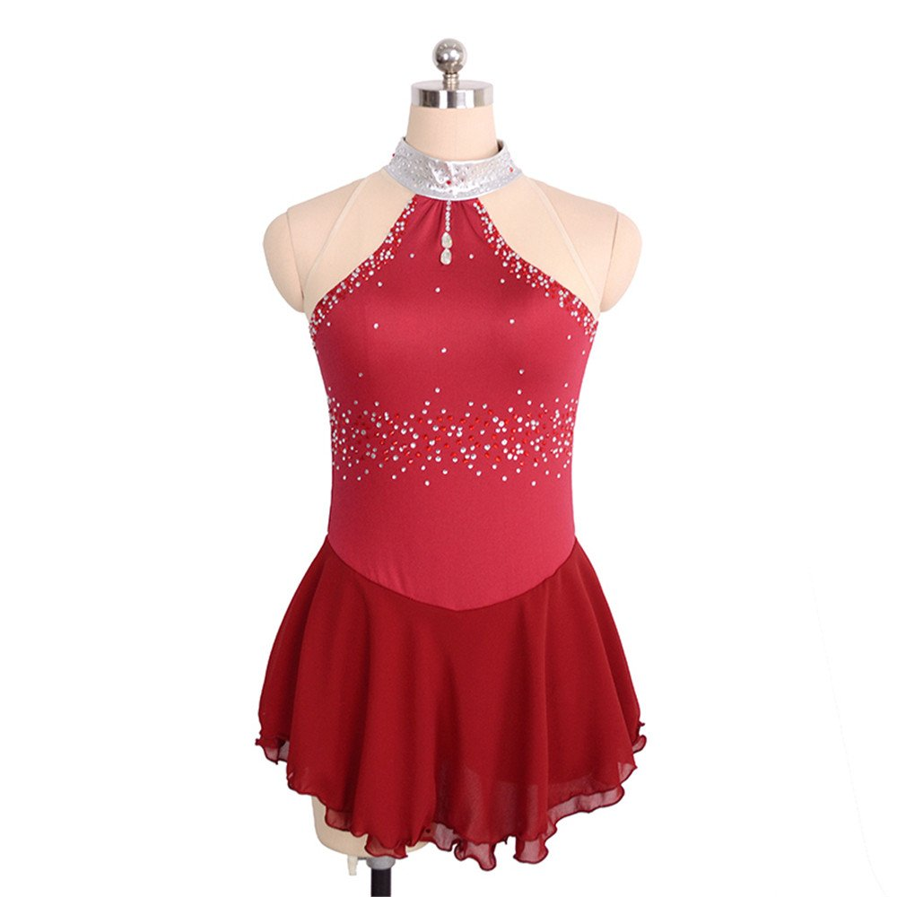Ice Figure Skating Dress for Girls Ladies High Collar LIUHUO