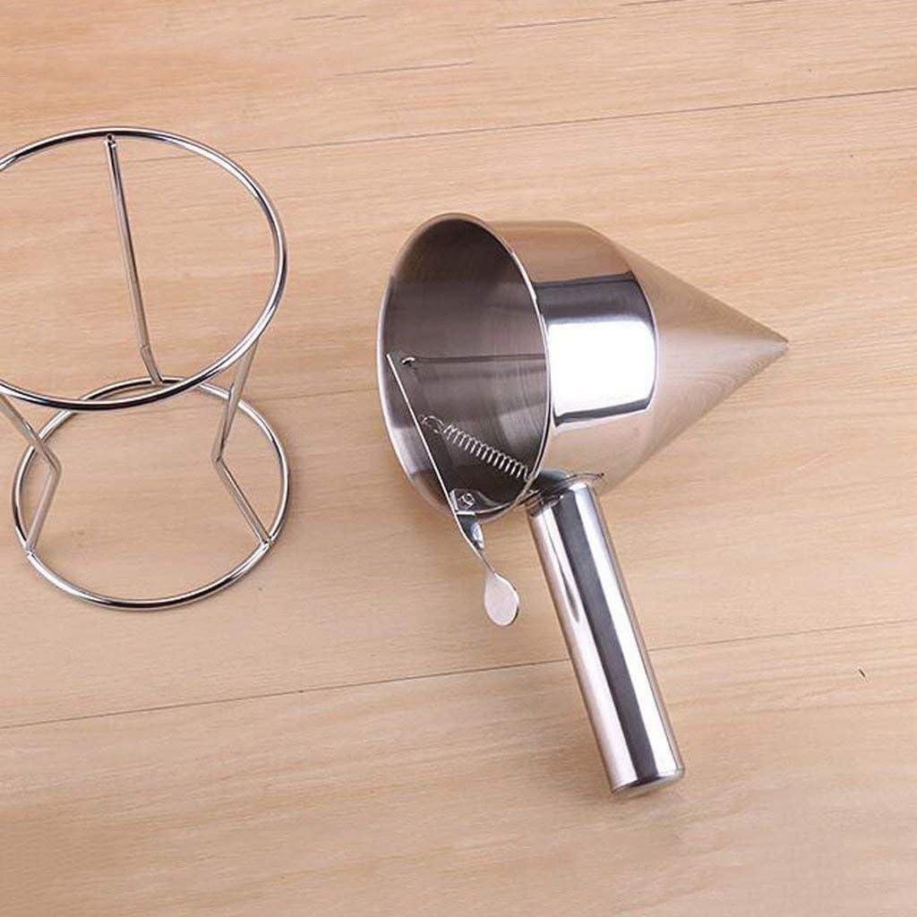 REFURBISHHOUSE Embudo de Piston de Acero Inoxidable con Soporte para Salsa Crema Embudo de dosificacion en Salsa