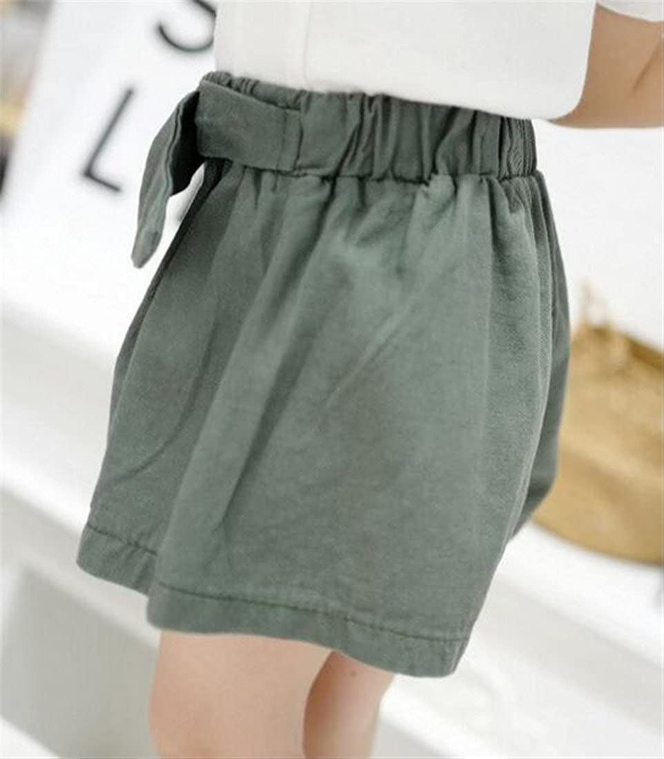 Cromoncent Toddler Girls Cotton Elastic Waist Belted Wide Leg Pleated Summer Short Pants