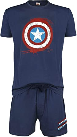 Capitán América Shield Hombre Pijama Azul Marino, ,