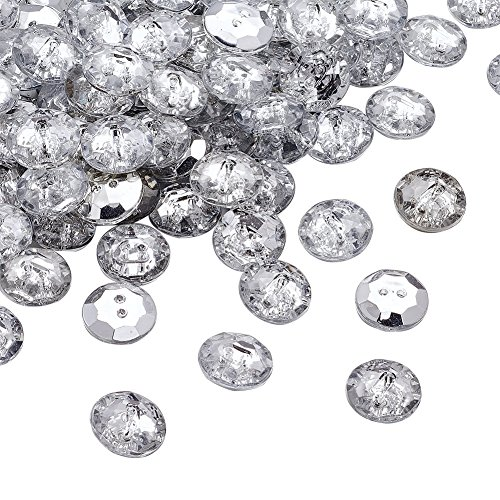 Pandahall 100pcs 2-Hole Acrylic Crystal Clear Rhinestone Sewing Fastening Buttons Jewelry Scrapbooking Flat Round 1/2 Inch Diameter Faceted Hole: 1mm