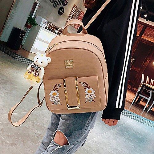Girl Backpack Holder and Patterns Orange Embroidery include Backpack Book Bag Card School Bag School Shoulder Women wCtxqXB6