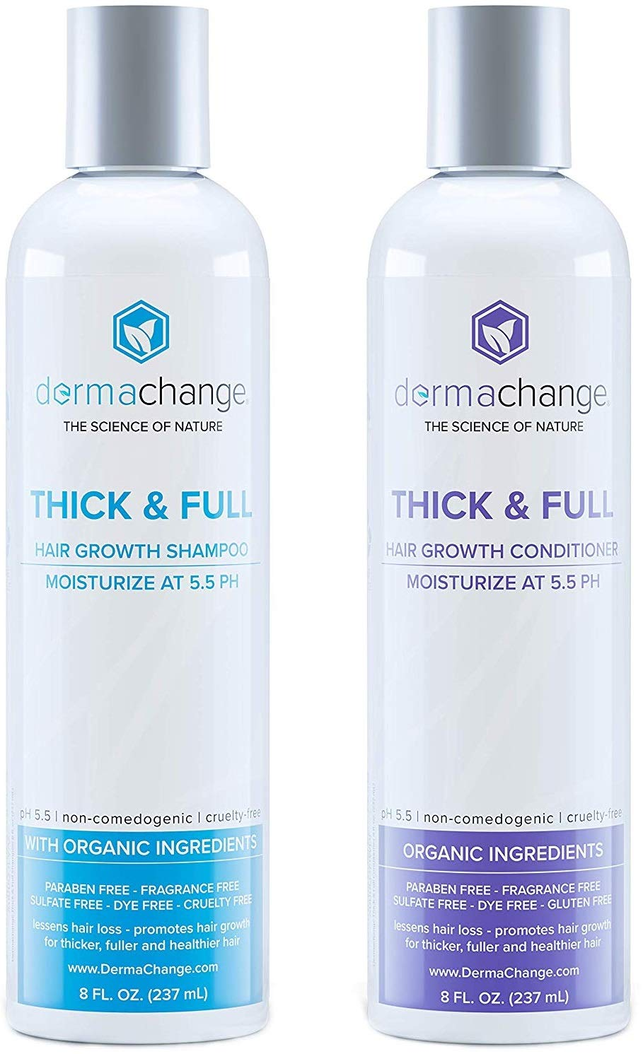 Organic Vegan Hair Growth Shampoo and Conditioner Set - Natural Hair Regrowth with Vitamins - Hair Loss & Thinning Products - Curly or Color Treated Hair - For Men and Women - Sulfate Free (8oz) by DermaChange