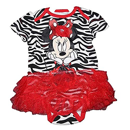 Disney Minnie Mouse Baby Girl Animal Print Romper W/ Ruffled Flounce - Red -