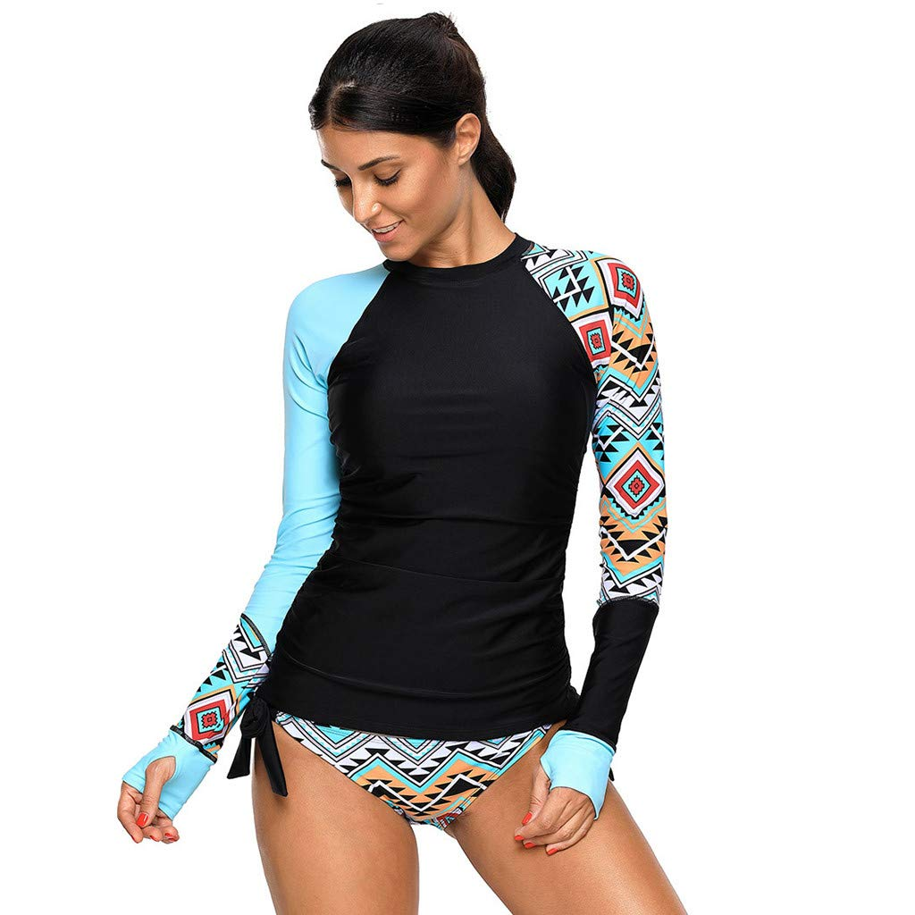 Women's Surf Suit, Geometric Printing Fashionable Long Sleeve Swimsuit Top + Shorts Bathing Suit Perfect for Beach Wear, Swimming Party, Diving, Holiday, Sun-Bathing (Blue, XL)