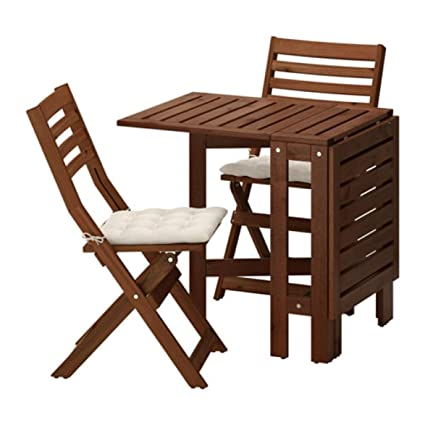 : IKEA Applaro Table and 2 Folding Chairs Outdoor