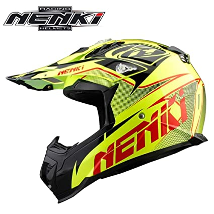 Adulto Motocross Casco MX Moto Casco ATV Scooter ATV Casco E. C. E Certificación Rockstar Fluorescente Amarillo