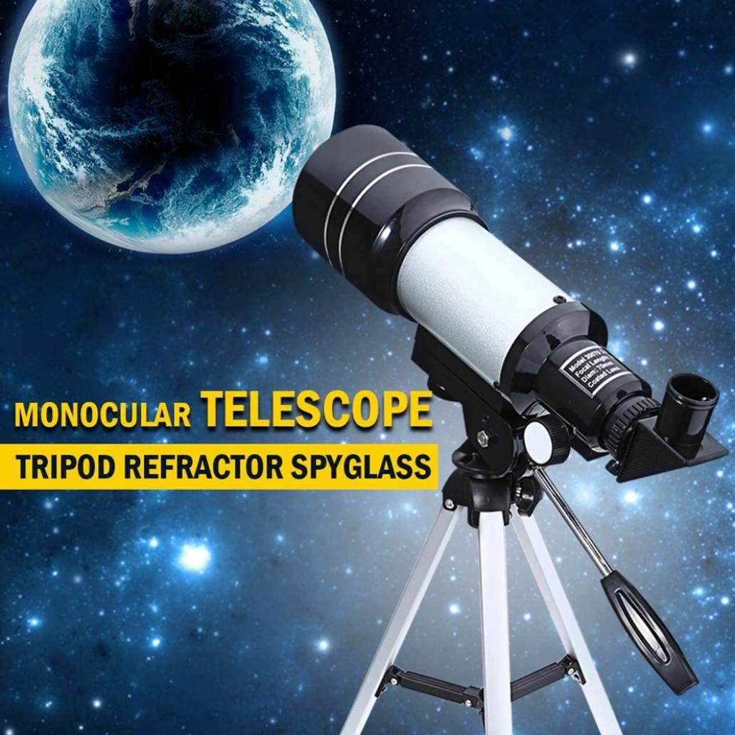 YiiLshaoqx F30070M Powerful Zoom Telescope Kids Space Astronomical Monoculars with Tripod Silver