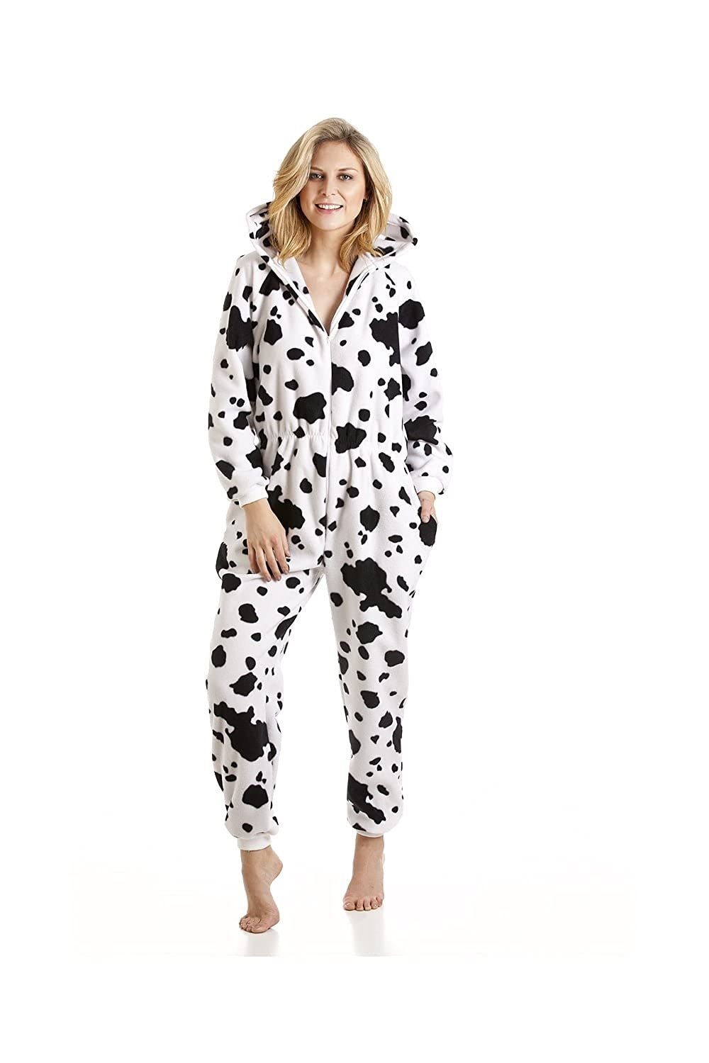 Amazon.com: Womens Ladies Black And White Dalmatian Print All In One Hooded Pajama Jumpsuit 10/12 WHITE: Camille: Clothing