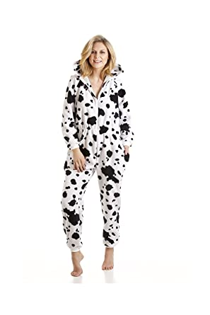 Womens Ladies Black And White Dalmatian Print All In One Hooded Pajama Jumpsuit 10/12