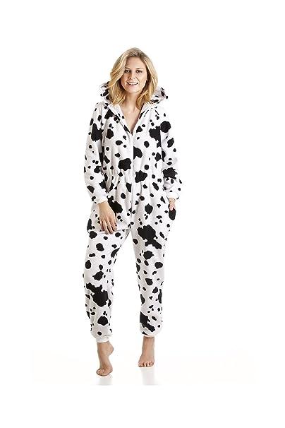 Camille - Pijama de una pieza con capucha para mujer - Estampado de dálmatas - Blanco y negro: Camille: Amazon.es: Ropa y accesorios