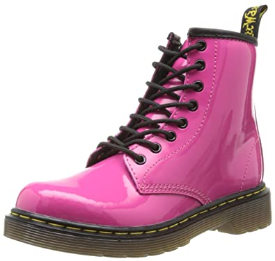 Dr. Martens Delaney, Boots mixte enfant - Rose (Hot Pink Patent Lamper) b799be90ee47