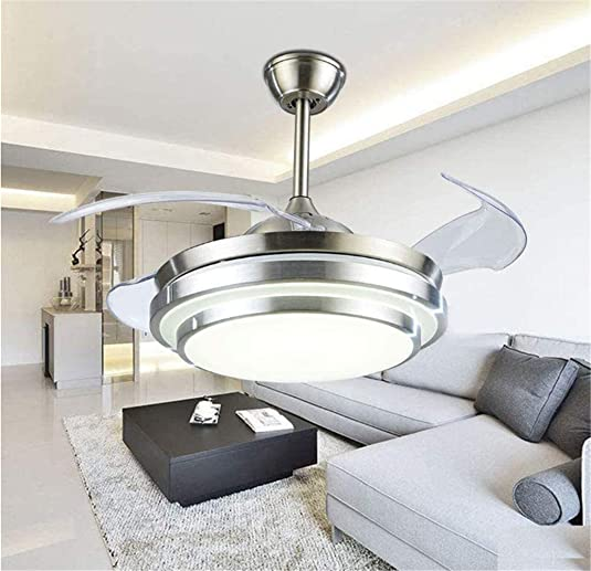 Angry Modern 36 Ceiling Fan Light with Invisible Blade and Remote Control Adjustable 3 Colors with Silent Motor for Livingroom Bedroom Diningroom Chandelier