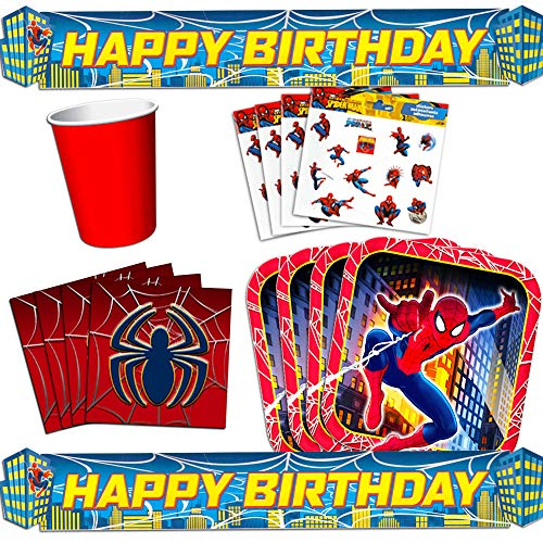 Marvel Spiderman Party Supplies Value Set -- Birthday Party Decorations, Plates, Cups, Napkins and Stickers -