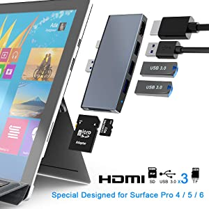 Surface Pro 6 5 4 USB 3.0 Hub/Docking Station, Takya USB 3.0x3 Hub Adapter, SD & TF/Micro SD Memory Card Reader, Mini DP to 4K HDMI Special Design for Microsoft Surface Pro 6th/ 5th/ 4th Gen