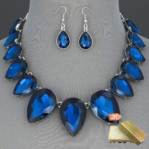Gold Cotton Filled Gift Box for Free Silver Chain Clear Blue Stone Elegant Gorgeous Statement Necklace With Earrings Set For Women