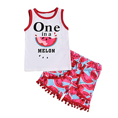 9af88905d Amazon.com: 0-4T Little Kids Baby Girls Clothes Set Summer Organic Cotton Watermelon  Print Vest Tops+Tassels Shorts 2Pcs Outfits: Clothing