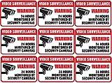 (9 Pack) Self Adhesive Video Surveillance Sign Vinyl Decal Sticker Indoor & Outdoor Use Waterproof