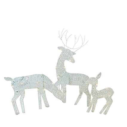penn 3 piece white glittered doe fawn and reindeer lighted christmas yard art decoration - Lighted Deer Christmas Lawn Ornaments