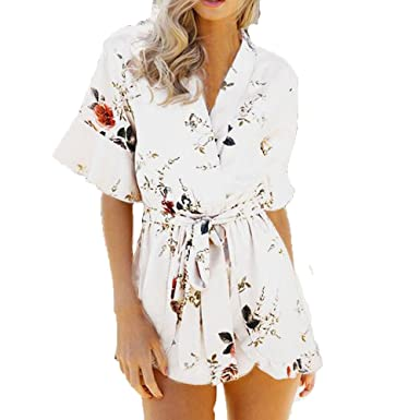 07d52a12459 Amazon.com  Handyulong Women Rompers Short Sleeve Floral Print Deep V Casual  Beach Jumpsuit Shorts Playsuits for Teen Girls  Clothing