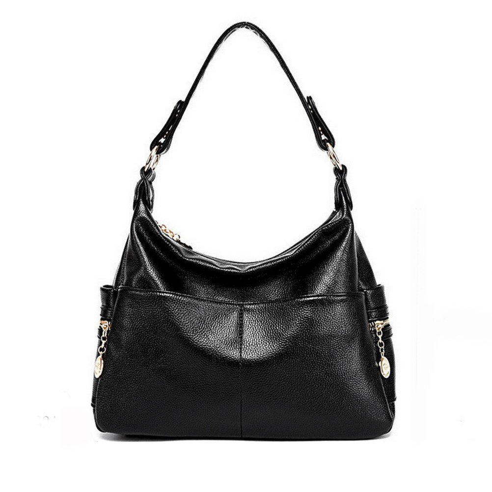 The Seventh Soft Leather Shoulder Bags Hobo Style Bag, Retro Casual Large Capacity PU Leather Tote Bag Light Black