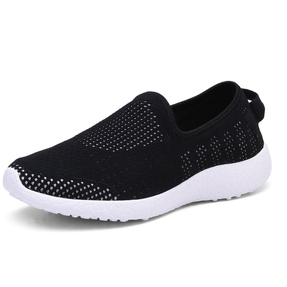 KONHILL Men's Casual Walking Shoes - Knit Breathable Tennis Athletic Running Sneakers Shoes B075V141P2 7 D(M) US|8255 Black