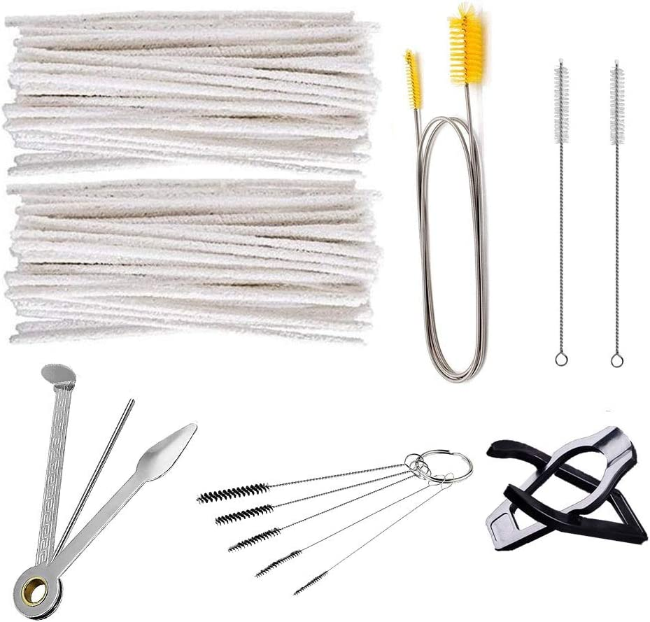 Pipe Cleaners Tool Set 100 pcs Bristle Pipe Cleaners 1pc Pipe Reamers Tamper Cleaning tool 1pc Long Pipe Cleaners Brush 1pc Mini Nylon Brush Set and 2pcs Drinking Straw Cleaning Brushs