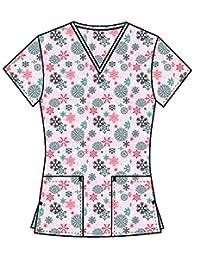 DSF Uniforms V-Neck Christmas Holiday Themed Print Scrub Top