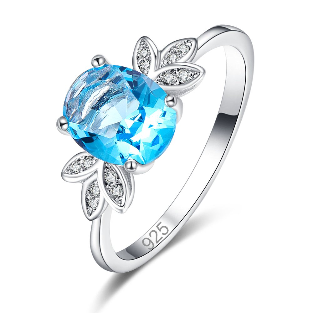 Psiroy 925 Sterling Silver Created Blue Topaz Filled Oval Cut Solitaire Promise Anniversary Ring for Women by Psiroy (Image #1)