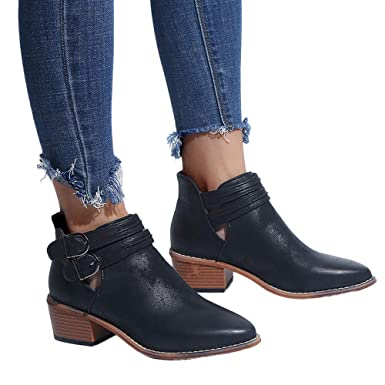 NEARTIME Women Casual Leather Shoes Ponited Toe Pure Color Booties Buckle Strap Square Heel Shoes