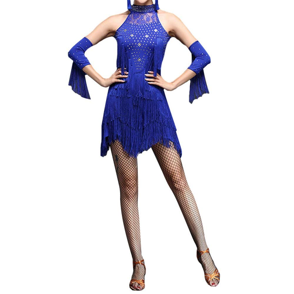Bleu Lisansang Robe de Danse Latine Femmes Frange Glands Salle De Bal Samba Tango Robe De Danse Latine Costumes Costume Soirée à Thème Robe Swing (Couleur   Bleu, Taille   M) X-Large